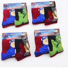 3--6 Year 4 pairs/lot Iron ManThor Hulk Captain America  kids carton cotton Children's Socks Baby winter Sock superhero child(China (Mainland))