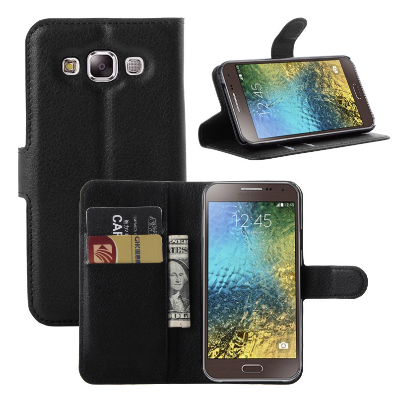 2015 New Litchi Texture Flip Wallet Leather Magnetic Cover Case for Samsung Galaxy E5 E500 with Card Slots Holder Stand(China (Mainland))