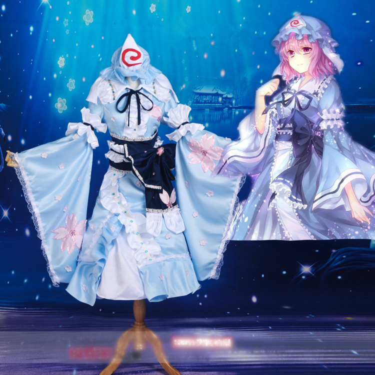 Touhou Project Saigyouji Yuyuko Short sakura Dress Cosplay Costume Halloween costume for womenОдежда и ак�е��уары<br><br><br>Aliexpress