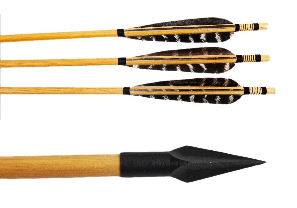 12x archery hunting 30-50lbs recurve bow wooden arrow w turkey feather arrow vanes 154grain head tips