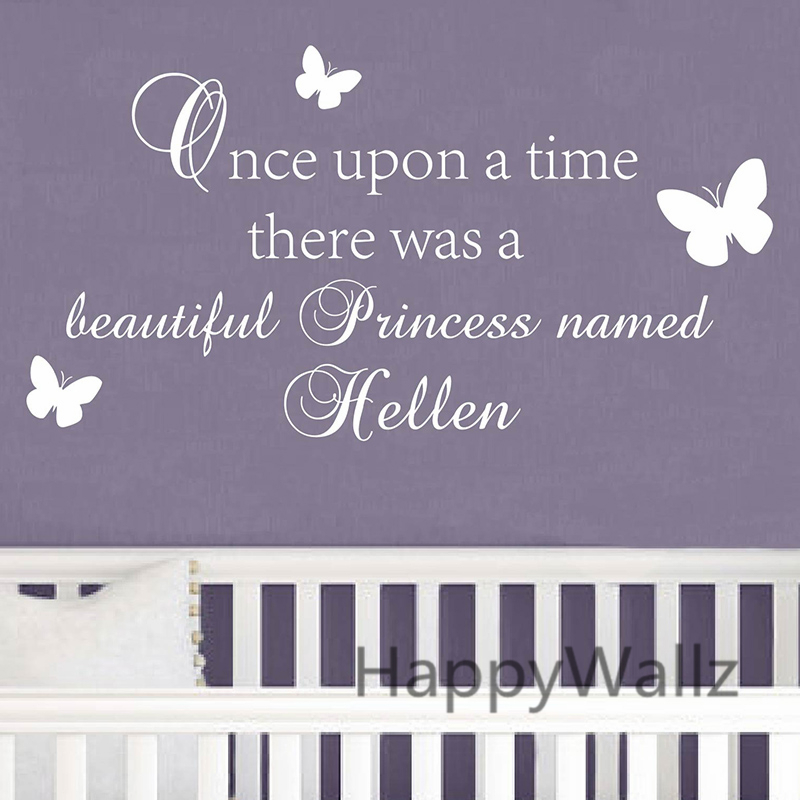 Custom Name Baby Nursery Wall Sticker DIY Once Upon A Time There Is A Princess Name Girls Wall Decal Name Wall Decors C68(China (Mainland))