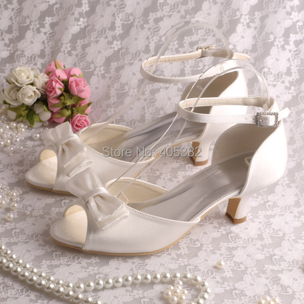(20 Colors)Hot Selling Cream Bow Satin Shoes Sandals for Women's Wedding Party 2014(China (Mainland))
