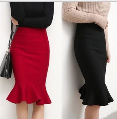 2 models womens mermaid skirt high waist winter long knit - Modelos de faldas de moda ...