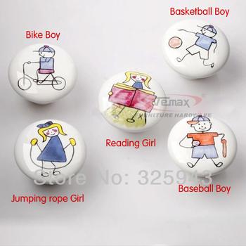 50pcs/lot Sports Child Ceramic Door Knob Kitchen Cabinets Kids Furniture Bedroom Dresser Drawer Pulls
