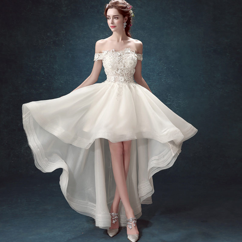 Elegant white wedding dresses sexy short bridal gowns boat for Short red and white wedding dresses
