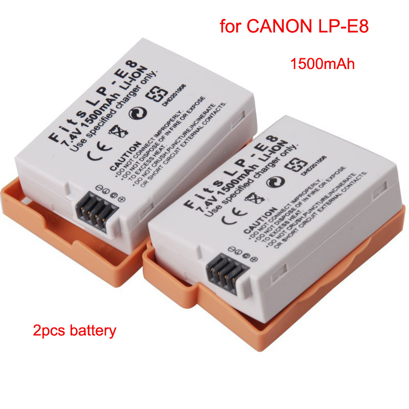 2PCS For Canon 600d Battery Lp-E8 Lp E8 7.2v Rechargeable Battery Li ion 1500mAh For Canon lp-e8 600D 550D 650D 700D(China (Mainland))