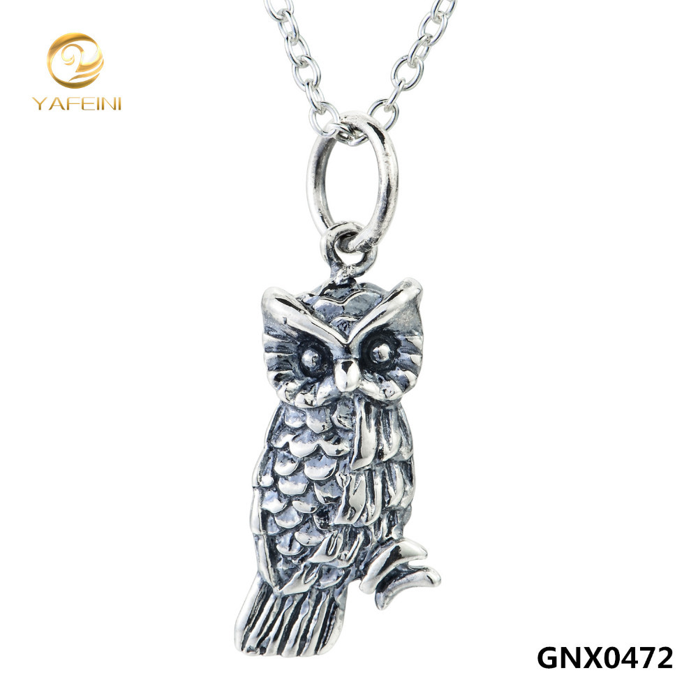 "Genuine 925 Sterling Silver Owl Pendant Necklace For Women Accessories Animal Jewelry Vintage Necklace 18"" GNX0472(China (Mainland))"