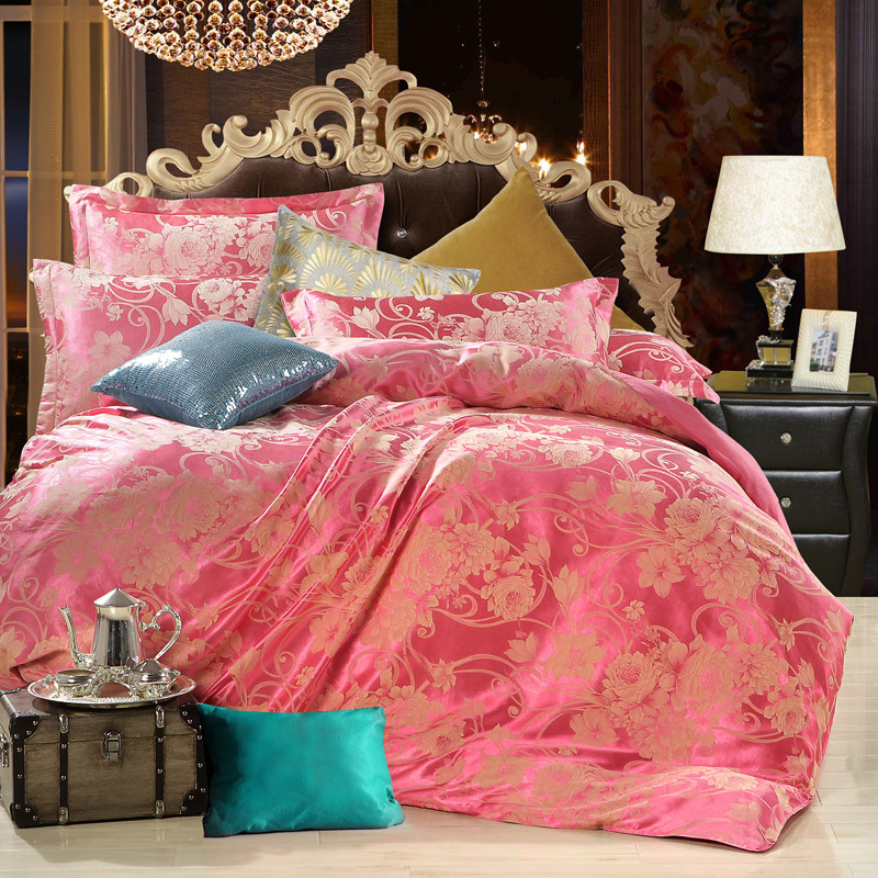 New arrive!Excellent stain/silk jacquard fabric bed set 4 pcs,king/quee size,TTS007,free shipping(China (Mainland))