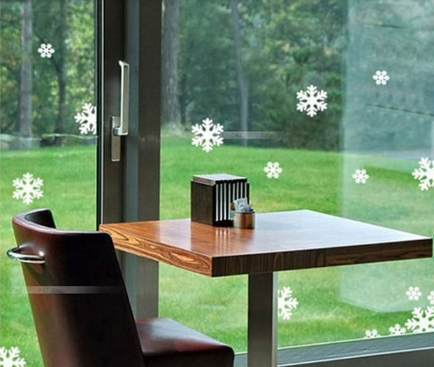 Christmas snowflake stickers grilles shop windows bedroom living room TV wall decorative K078 - Cecilia Yip Store store