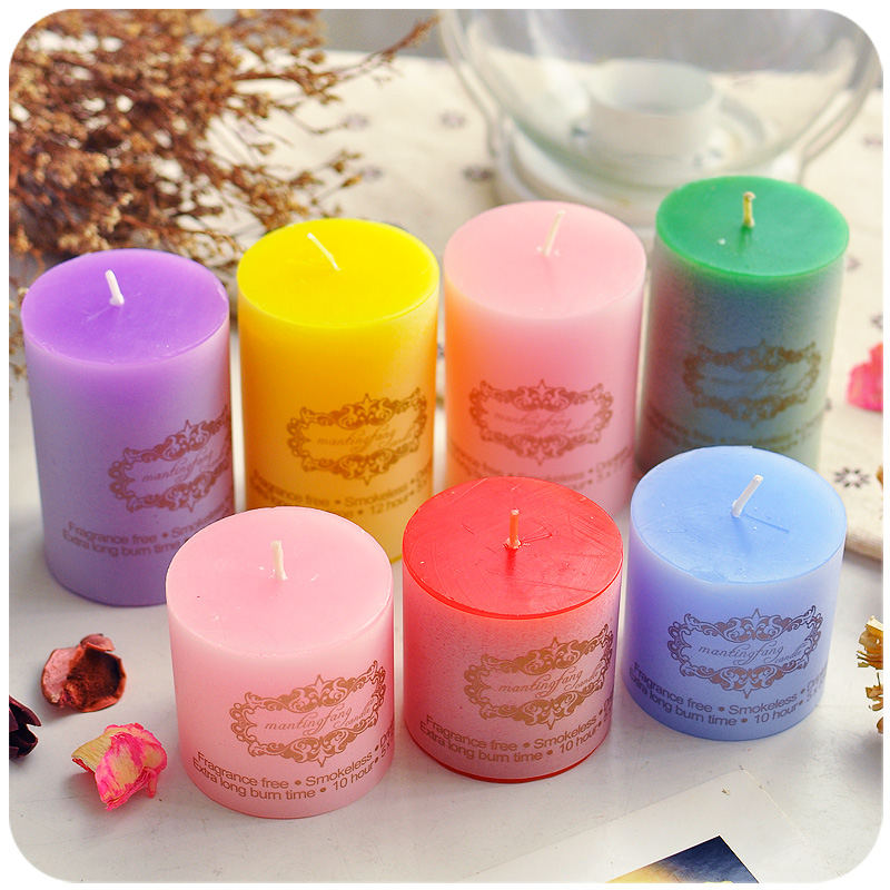 6pcs/Lot Aromatherapy Pillar Candles Essential Oil Fragrance Wax Scented Candles Birthday Christmas Decorative Candle(China (Mainland))