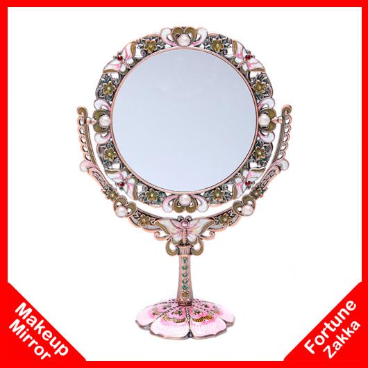 [ IDEA ]^_^Oval Vintage Cosmetic Mirror Makeup Vanity Table Makeup Mirror Of Makeup Desktop Antique Compact Mirror With Handle(China (Mainland))