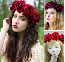 Buy Bride women Rose Flower crown Hairband Wedding Flower Garland Headband Festival flower wreath Elastic Headress Hair Accessories for $5.99 in AliExpress store