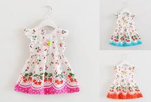 2016 kids printed Summer dress Sleeveless baby girls dress Hot selling baby dress kids princess dress 3 colors(China (Mainland))