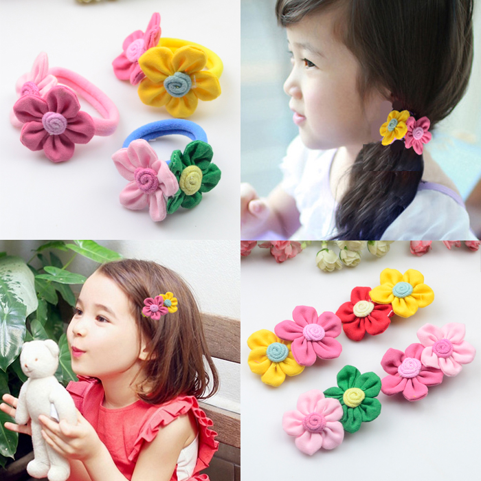 3 Pcs/lot Sweet Candy Color Double Flowers Girls' Hair Elastic Ropes Bands Kids Accessories