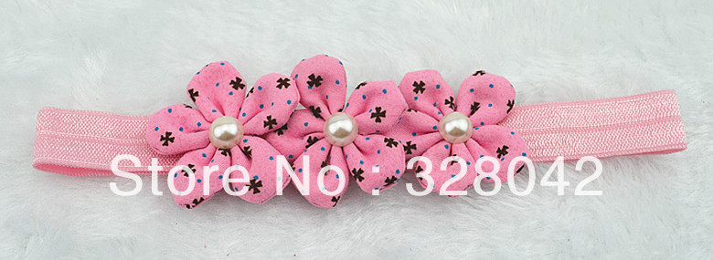 HOT!!! PINK AND WHITE triple fabric flowers FOE headbands pearl centre DIY handmade flower hairband hair accessories 60pcs/lotОдежда и ак�е��уары<br><br><br>Aliexpress