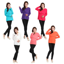 Maternity Nursing top Long Sleeve Cotton Breastfeeding Clothes Maternity Clothes for Pregnant Women casual feeding(China (Mainland))