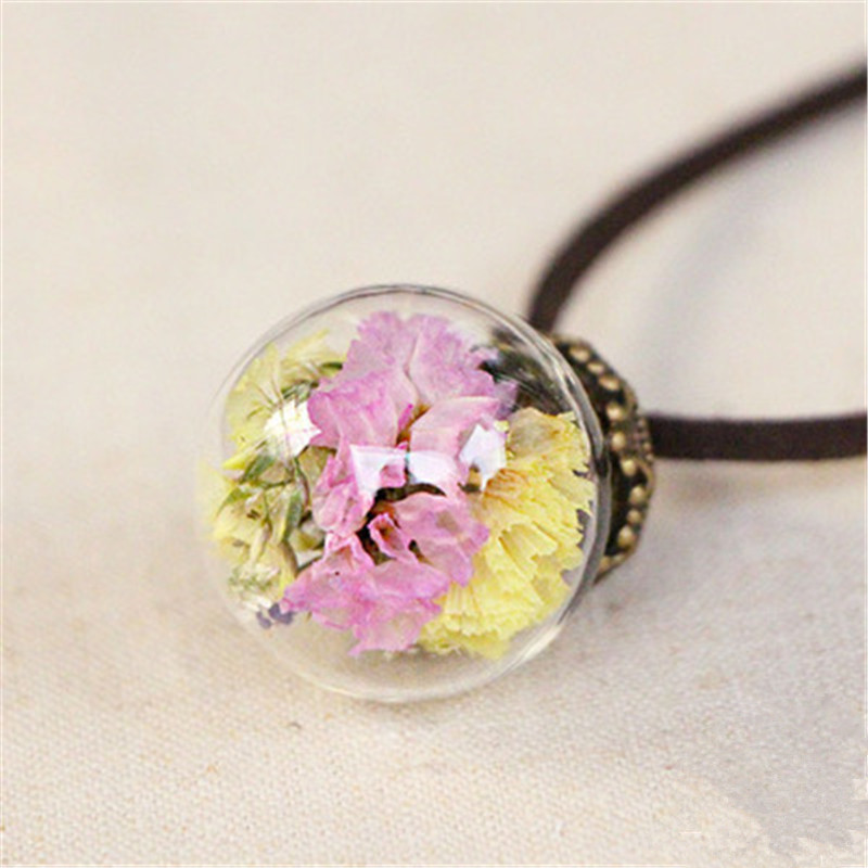 Sunshine real pink dried flowers glass ball 2.5cm pendant necklace new Wish bottle plant necklace fashion jewelry for girl women(China (Mainland))