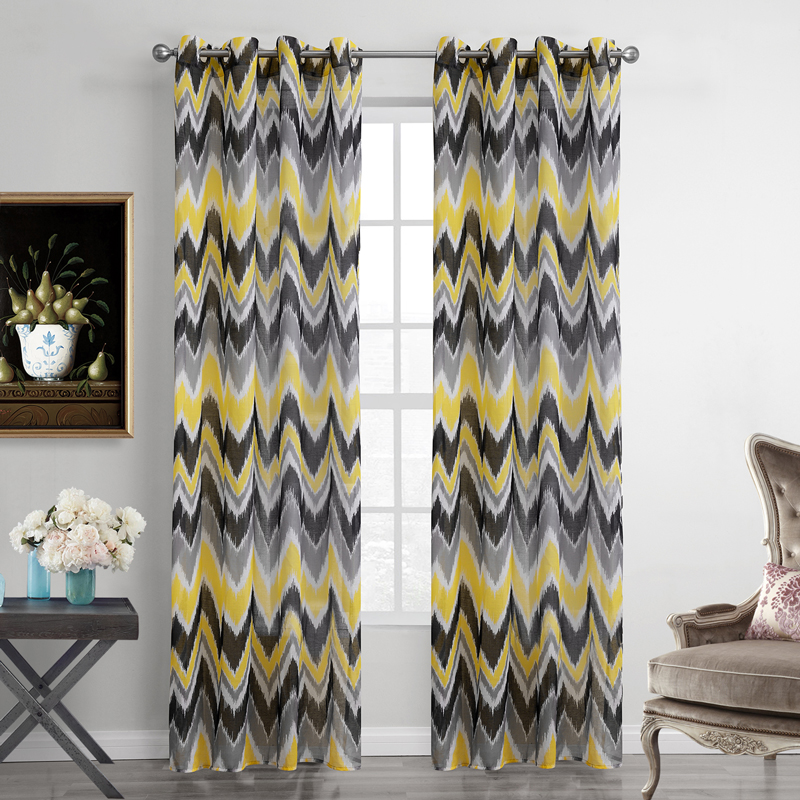 Striped Voile Curtains Modern Style Sheer Curtain for Flat Window ...