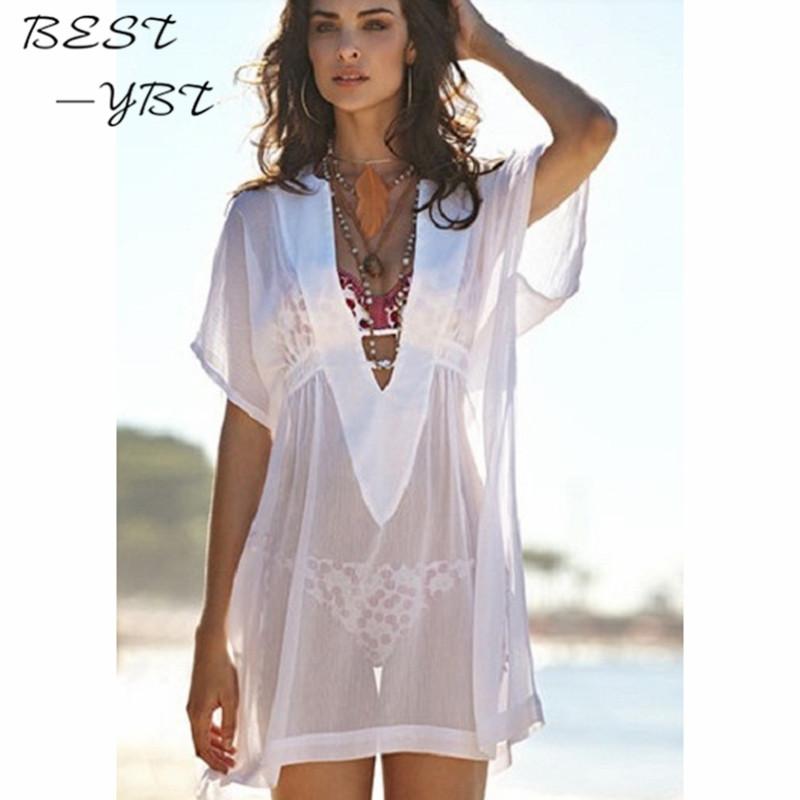 Sexy V-neck dress solid color chiffon sun beach short sleeve translucent dress.Slimming Wrap Women's Fashion Clothing(China (Mainland))