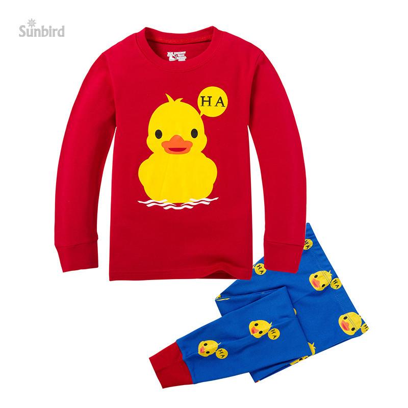 PC-11, 6sets, duck, Children boys pajamas, long sleeve cartoon sleepwear clothing sets for 2-7T, 100% cotton rib<br><br>Aliexpress