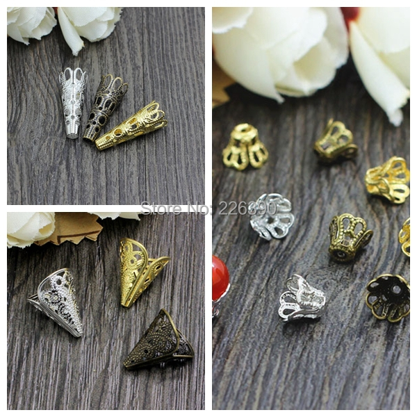 200pcs/lot Bali Style Hollow Flower Filigree Cone Bead Caps End Caps Gold Silver Bronze Rhodium Plated Fit Jewelry Findings Y855<br><br>Aliexpress