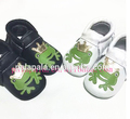 New Genuine Cow Leather animals printing frog design Baby Moccasins Soft Moccs BOW infant Shoes girls