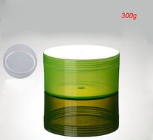 300G green plastic cream jar for cream ,gel facial scrub body scrub mask cream container ,300g green large cosmetic container(China (Mainland))