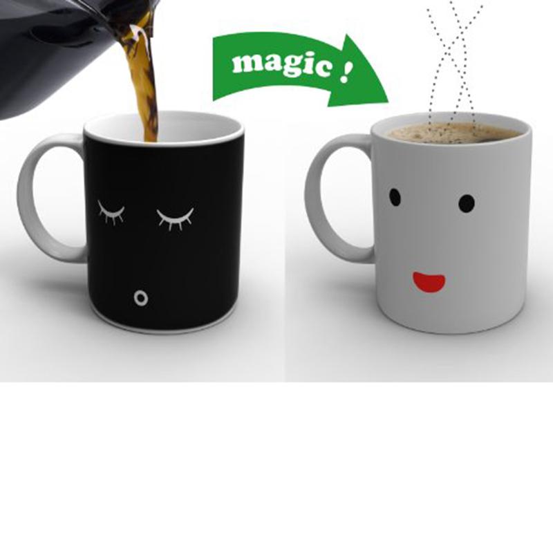2016 Creative Morning Coffee Tea Mug Cup Mug Change Color Ceramic Mug Cup Gift for Girlfriend Kids 301-400ml(China (Mainland))