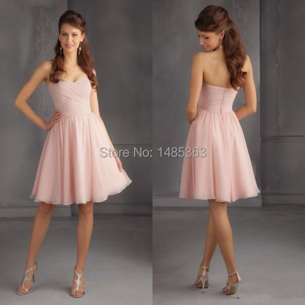 Top Online A Line Sweetheart Pleats Chiffon Knee Length Wholesale Prince Pink Bridesmaid Dresses(China (Mainland))