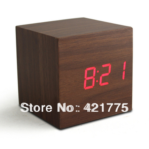 Free Shipping Fashion Square Digital LED Wood Alarm Clock Temperature Blue White Red Desk Table Clocks Wholesale(China (Mainland))