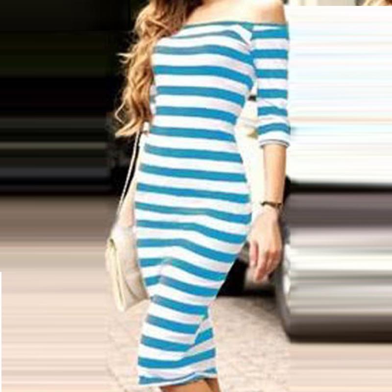 Hot Selling Fashion 2015 New Woman Summer Dress Cotton Slim Short Sleeve Striped Plus Size S,M,L,XL Elegant DressY60*E3454#S7(China (Mainland))