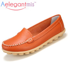2016 Summer Genuine Leather Women Shoes Flats 5 Colors Loafers Woman Classic Casual Walking Mother Shoes Moccasins Plus Size(China (Mainland))