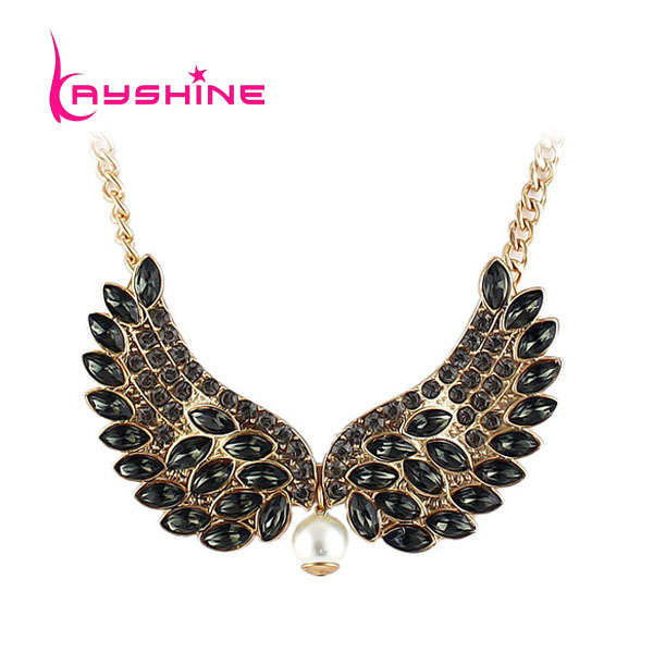 Rhinestone Angle Wings Gothic Collar Necklace For Women 2016 New Fashion Jewelry(China (Mainland))
