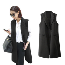 Fashion Women Thin Waistcoat Coat Notched Collar Gilet Femme Double Press Stud Pockets Sleeveless Jacket Vests Chalecos Black(China (Mainland))