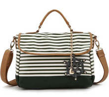 New Designer Handbags High Quality With Black And White Stripes And Love Pendant Women Leather PU Shoulder Bag Messenger Bag(China (Mainland))