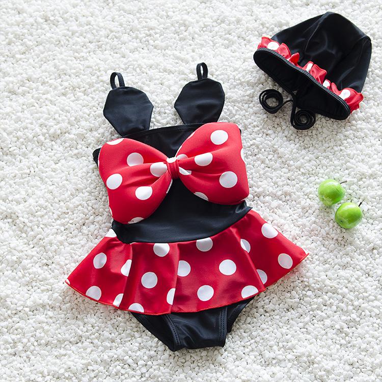 bikini set 2016 new swimming suit children's kids girls swimsuit with a swimming cap swimwear bathing suit baby swimming clothes(China (Mainland))
