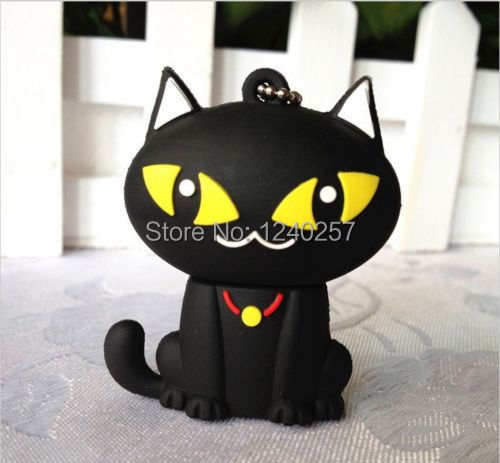 usb flash drive 64g pen drive 32g pendrive 16g 8g 4g new style Hot Sale cartoon Black cute cat pendrive Usb 2.0 free shipping(China (Mainland))