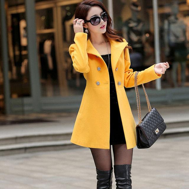 Двубортный шерстяное пальто женщины 2016 осенью новинка с длинным рукавом и пиджаки ...