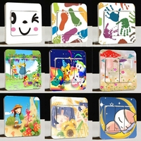 6pcs New Switch Stickers Hand-Painted Freehand Series Parlor Wall Stickers