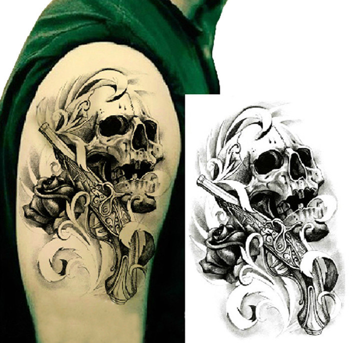 Single Gun Skull Tattoo 3D Waterproof Temporary Tattoo Stickers Body Art Tattoo Stickers Hand Decoration Pro Beauty Makeup 1pcs(China (Mainland))