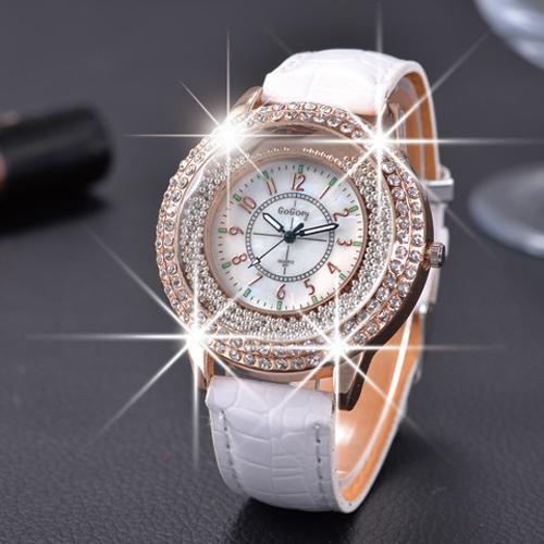 Гаджет  GOGOEY 2015 New Fashion Ladies Leather Crystal Diamond Rhinestone Watches Women Beauty Dress Quartz Wristwatch Hours Reloj Mujer None Ювелирные изделия и часы