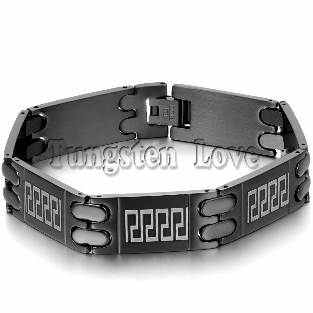 New Black Punk Mens Stainless Steel Bracelet Classic Great Wall Design Wide Bracelet Bangle For Men pulseira masculina 21cm(China (Mainland))