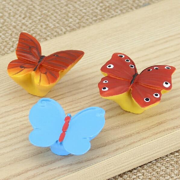 Children room furiniture handles modern simple furinture konb resin drawer cabinet pulls Knob butterfly Knob cartoon knobs(China (Mainland))