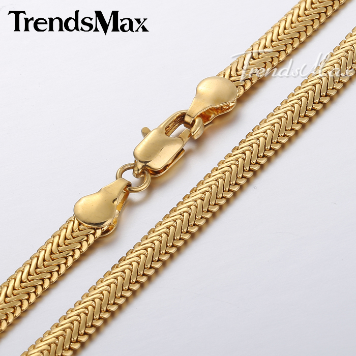 5/7mm Mens Chain Boys Yellow Gold Filled GF Necklace Herringbone Snake Link GN394 GN248(Hong Kong)