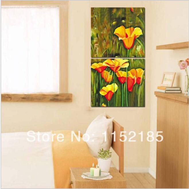 Idee Decoration Chambre De Bebe Garcon : Abstraite fleur jaune mur art peinture sur toile 2 panneau peinture