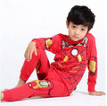 New Spring Style High Quality Children Superhero Home Wear Ironman Costume 100 Cotton Top Pants Pajamas