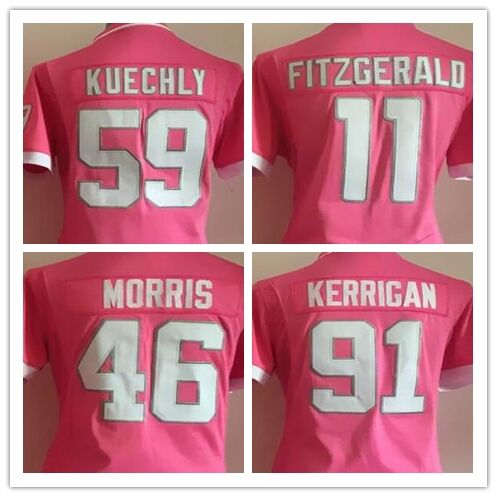 46 Alfred Morris 91 Ryan Kerrigan 59 Luke Kuechly 11 Larry Fitzgerald Embroidery Logos Women Pink Bubble Gum Football Jerseys(China (Mainland))