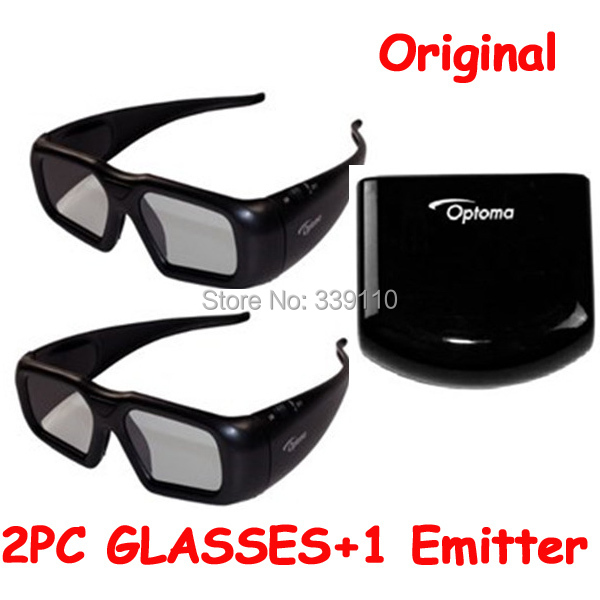 Original 2pcs 3d Shutter Glasses With 1 pcs Emitter ZF2100 Active RF 3d Glasses For Optoma RF Projector Freeshipping(China (Mainland))