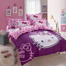 2015 new  Home textiles Cartoon purple Hello kitty bed linen for children King size  Quilt Duvet Cover Pillow Bedding Sets(China (Mainland))