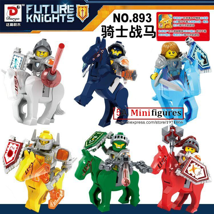 6pcs Marvel Super Heroes Knights Royal Soldier Horses Lance Crust Smasher Minifigures Building Blocks Bricks Kid Baby toys(China (Mainland))